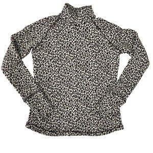 Lucy L Animal Print Leopard Quarter-Zip Shirt